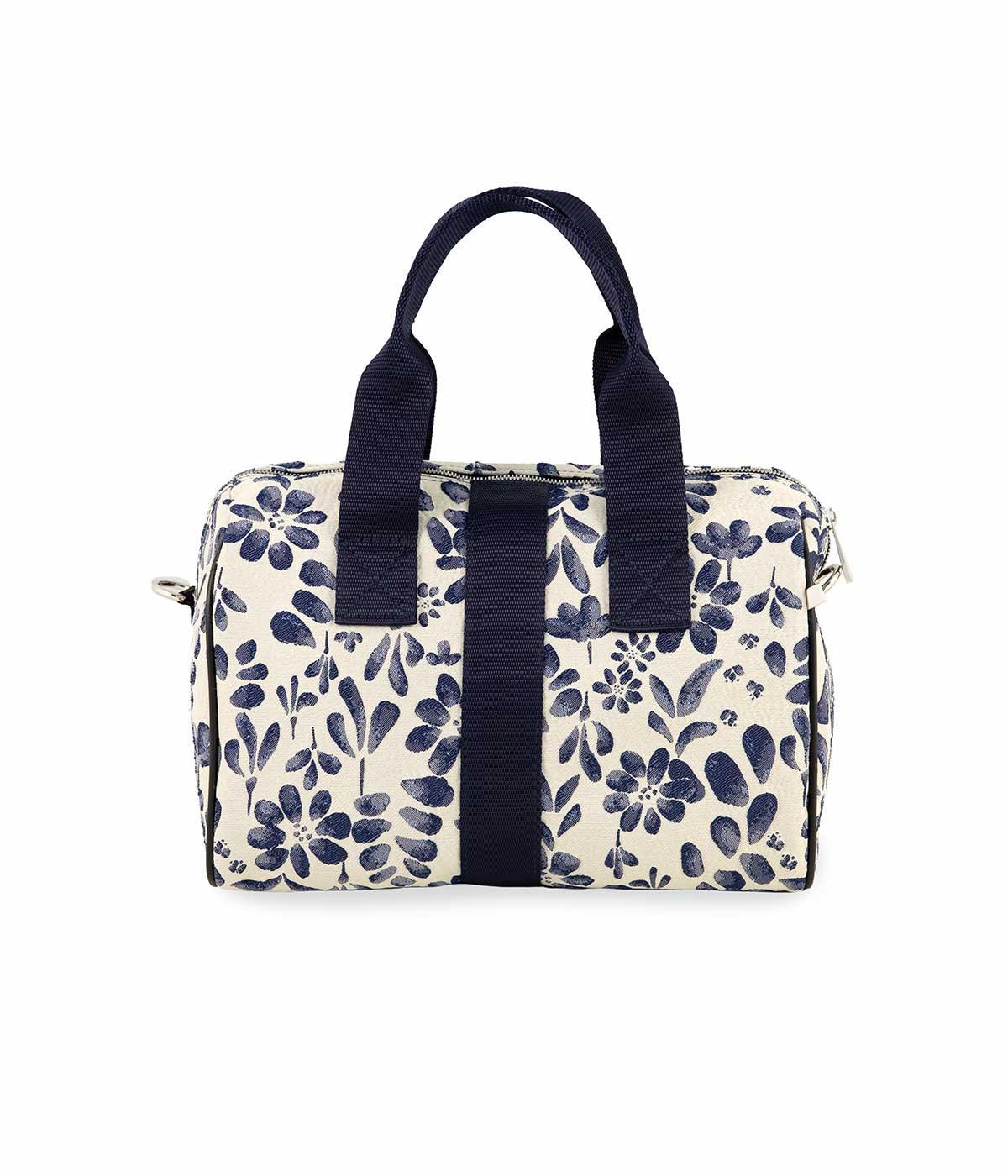 Bauletto Tessuto Damascato Floreale Bianco Blu Quitto Bags