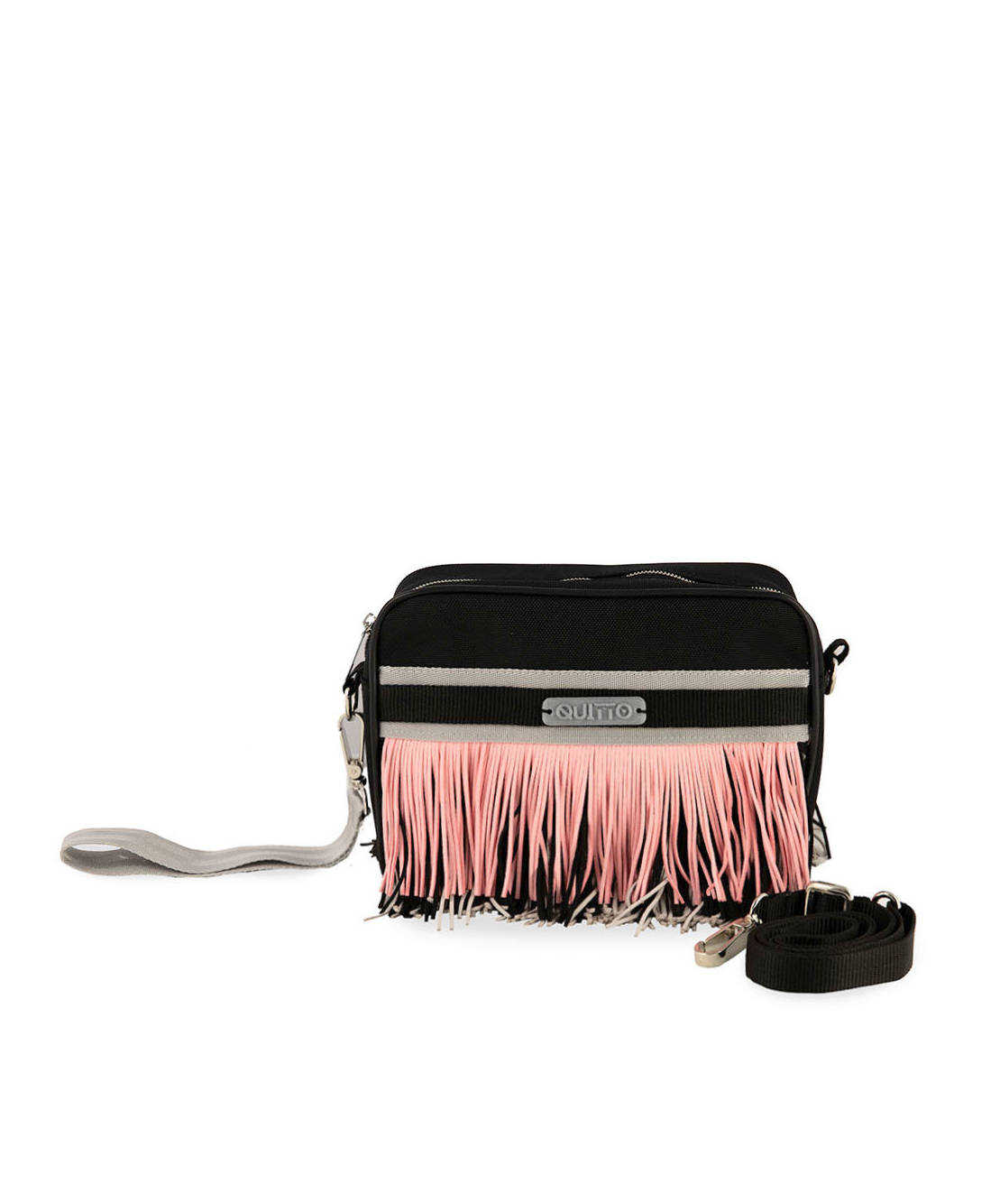 Beauty Bag in Tessuto Tecnico Nero Frange RoBeauty Bag in Tessuto Tecnico Nero Frange  in Alcantara Rosa Grigio Nere Quittobags