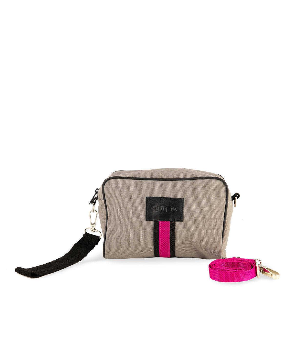 beauty-bag-grigio-chiaro-tessuto-tecnico-impermeabile-fascia-fuxia-fronte