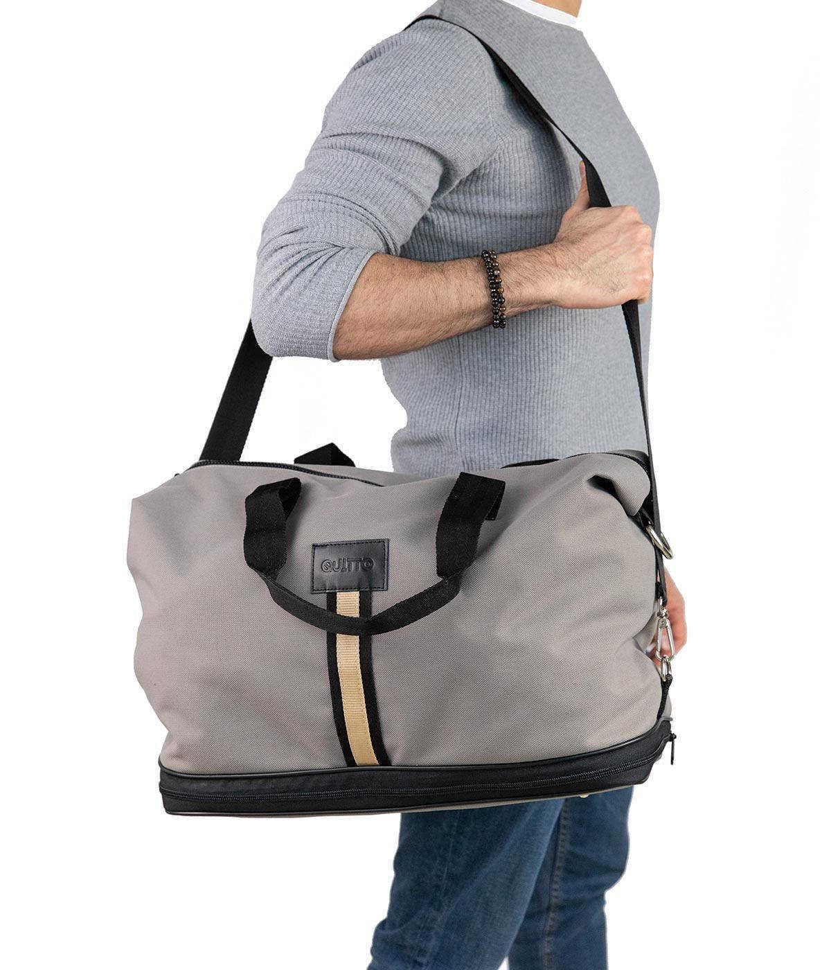 Borsone Estensibile Tessuto Tecnico Impermeabile Grigio Chiaro Quitto Bags