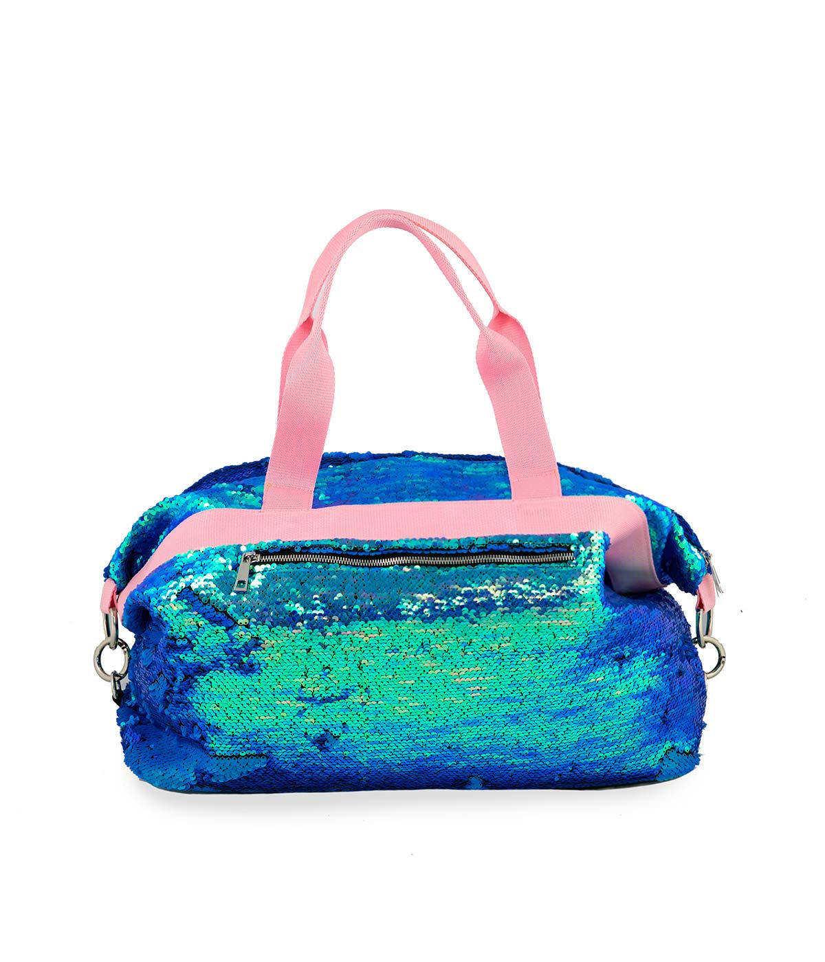 Borsone Borsa Grande Paillettes Azzurra Quitto Bags