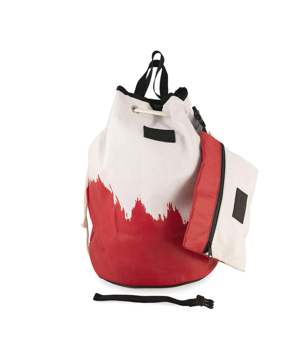 Sacca Tonda Impermeabile Bianca e Rossa Quitto Bags